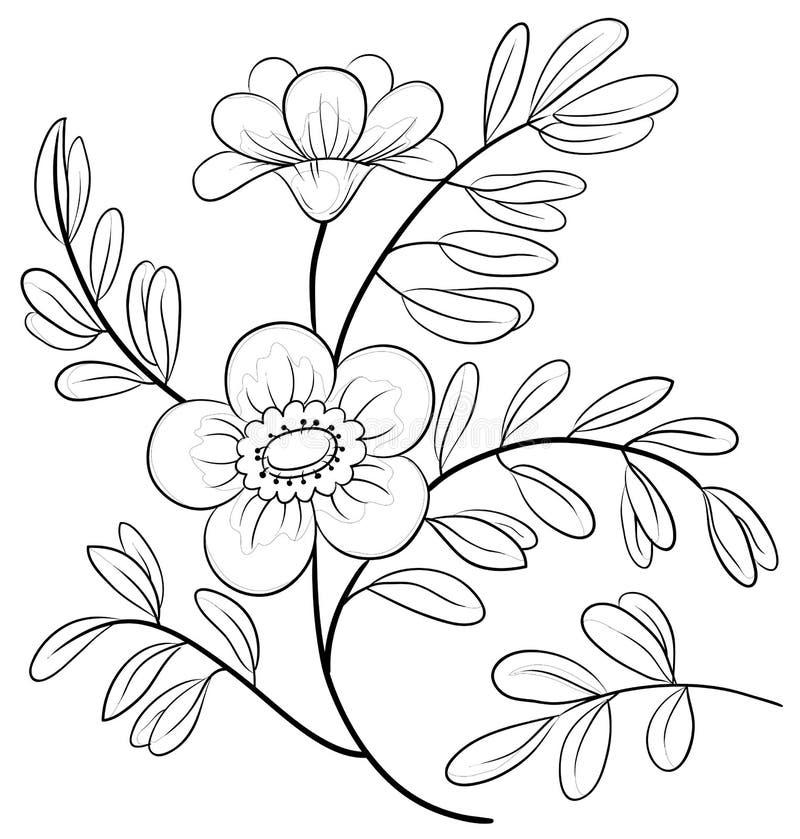 Abstrakt blomma, konturer royaltyfri illustrationer