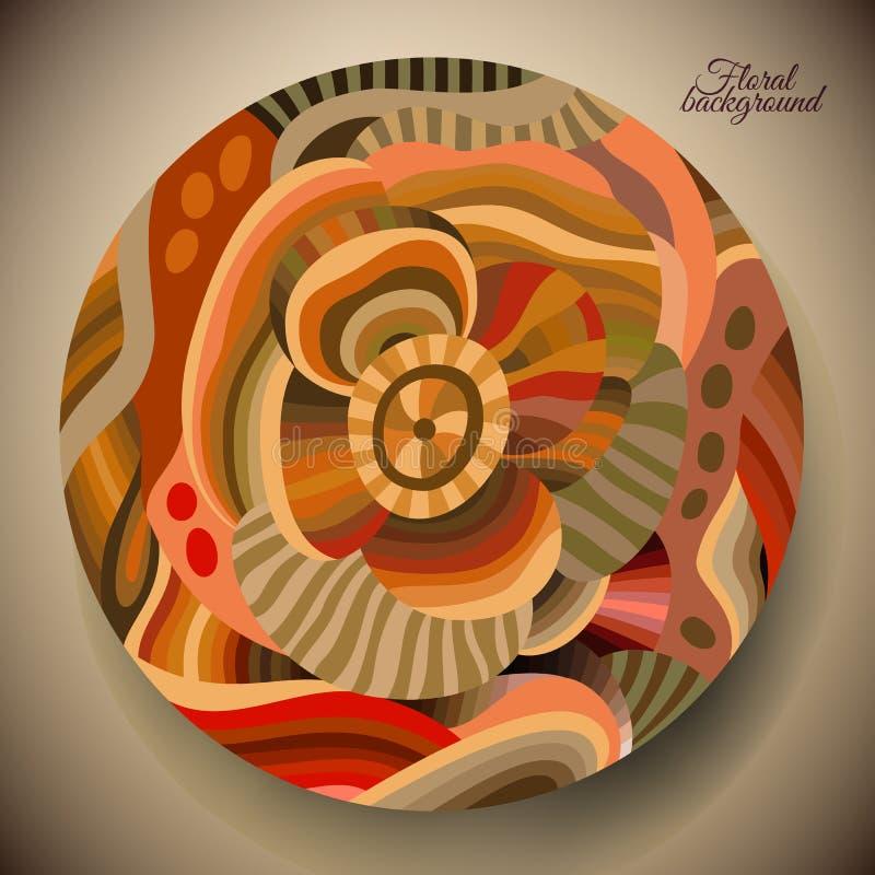 Abstrakt blomma med en rund etikett vektor illustrationer
