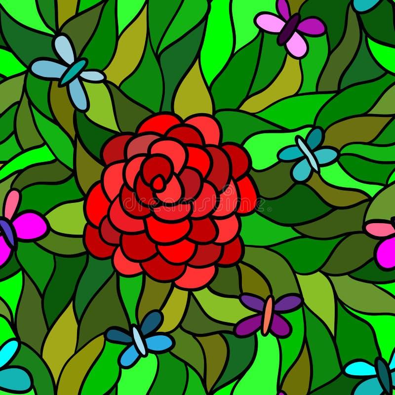 Abstrakt blomma med fjärilen, sömlös modell royaltyfri illustrationer