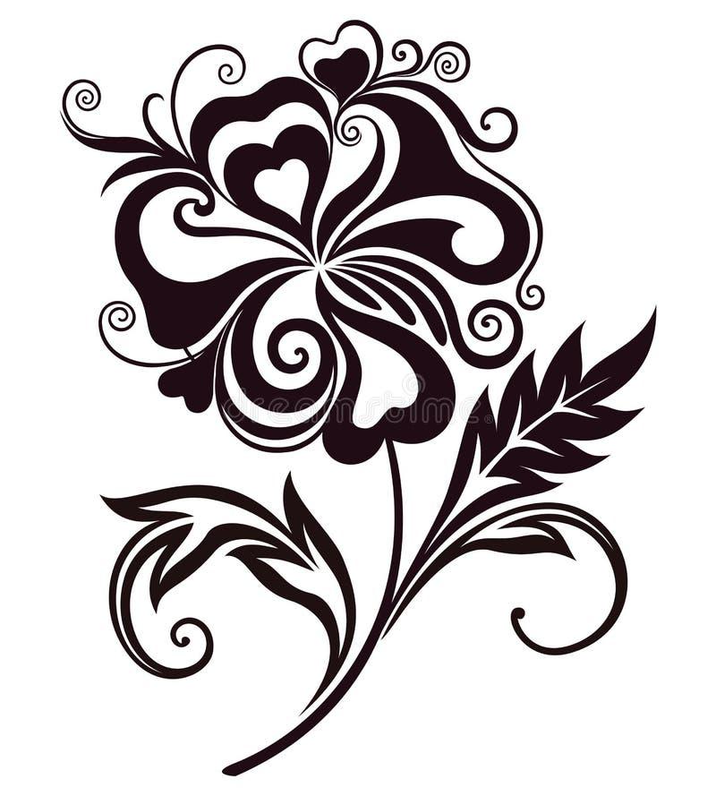 Abstrakt blommalinje-konst stock illustrationer
