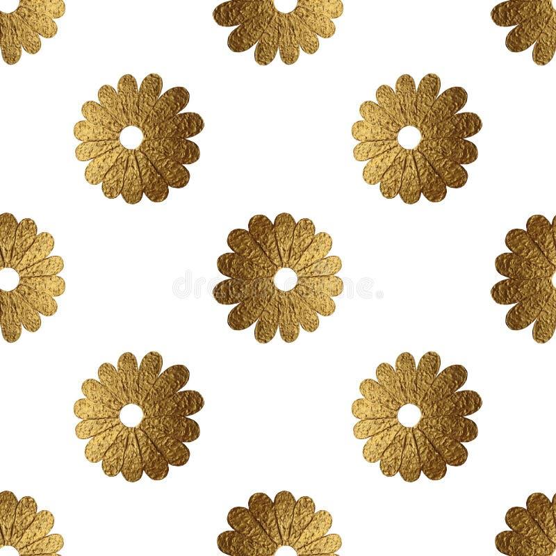 Abstrakt blommamodell för guld Hand målad blom- sömlös bakgrund royaltyfria bilder