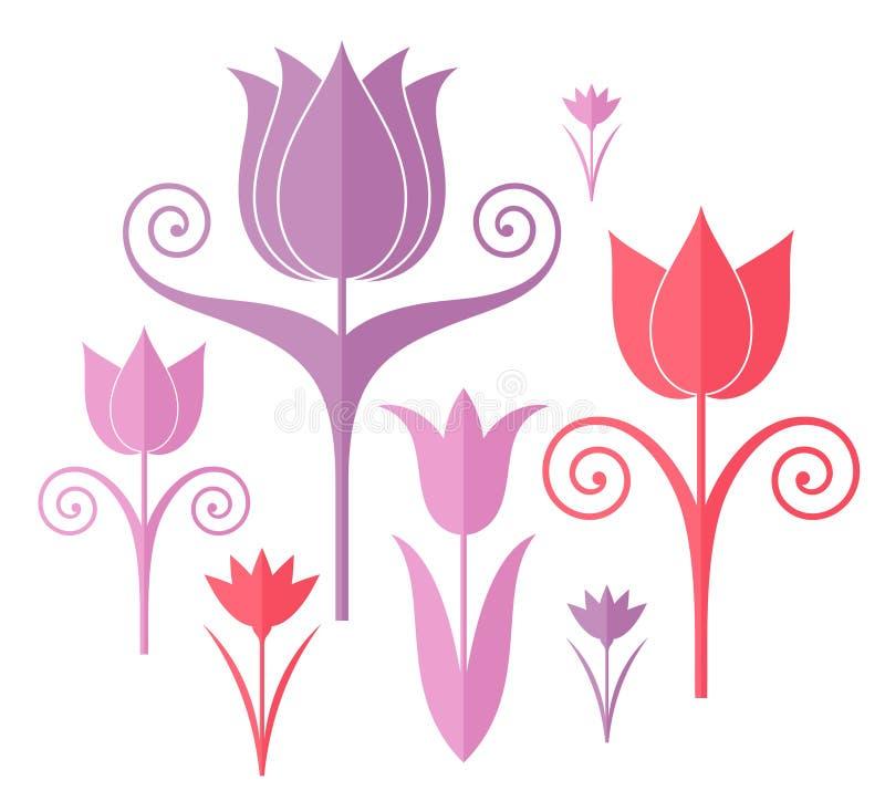 abstrakt blommor origami vektor illustrationer
