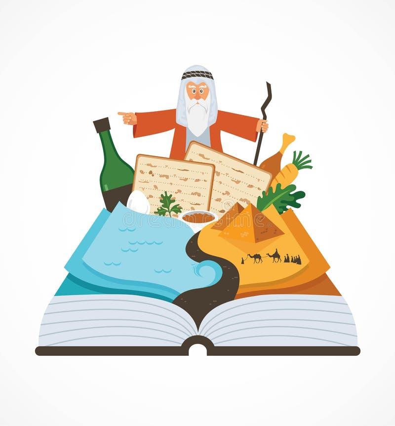 Abstrakt bok för påskhögtidberättelsehaggadah över traditionell mat och Mozes