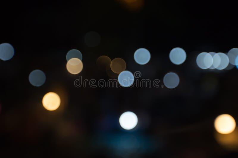 Abstrakt bokehbakgrund, bokehparti i natten, bakgrund för bokeh för ljus för nattstadsgata, nattstadsbakgrund, abstrakt circul arkivbild
