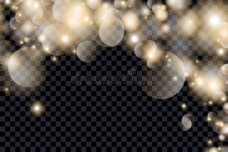 Abstrakt bokehbakgrund för guld vektor illustrationer