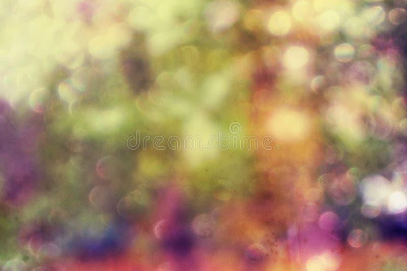 Abstrakt bokehbakgrund med ljusa rika signaler, vita, gula, gröna purpurfärgade toner arkivbilder
