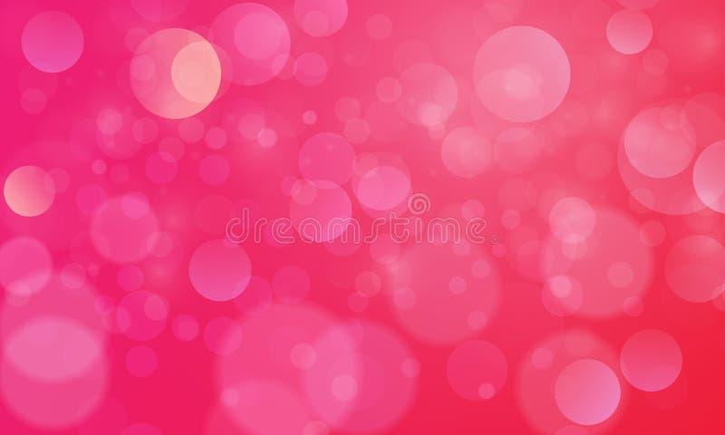 Abstrakt bokehljuseffekt med rosa röd bakgrund, bokehtextur, bokehbakgrund, vektorillustration royaltyfri illustrationer