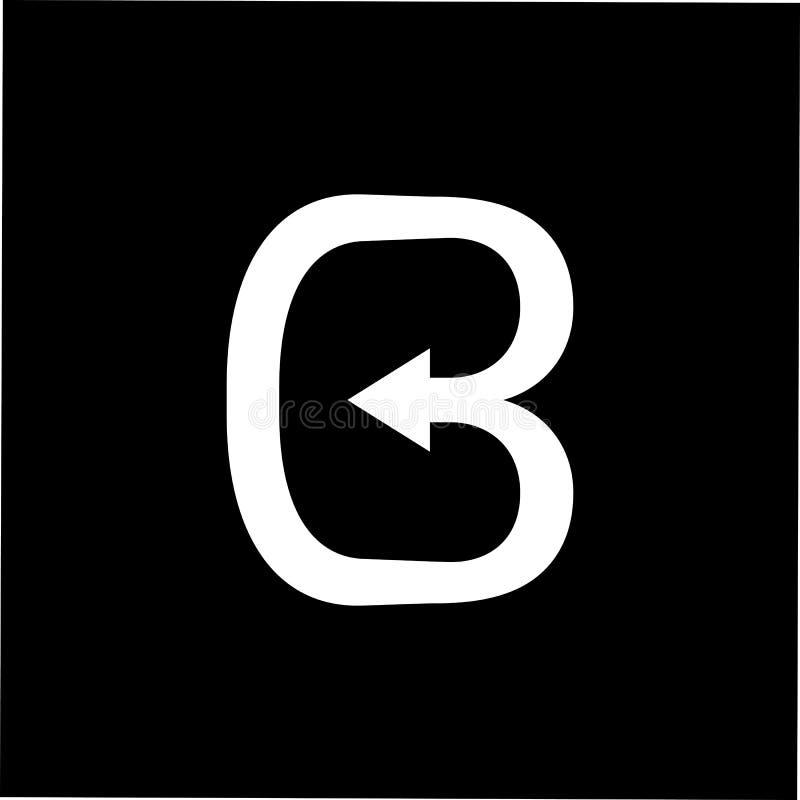 Abstrakt bokstav b buktar linjen enkel logovektor f?r pil royaltyfri illustrationer