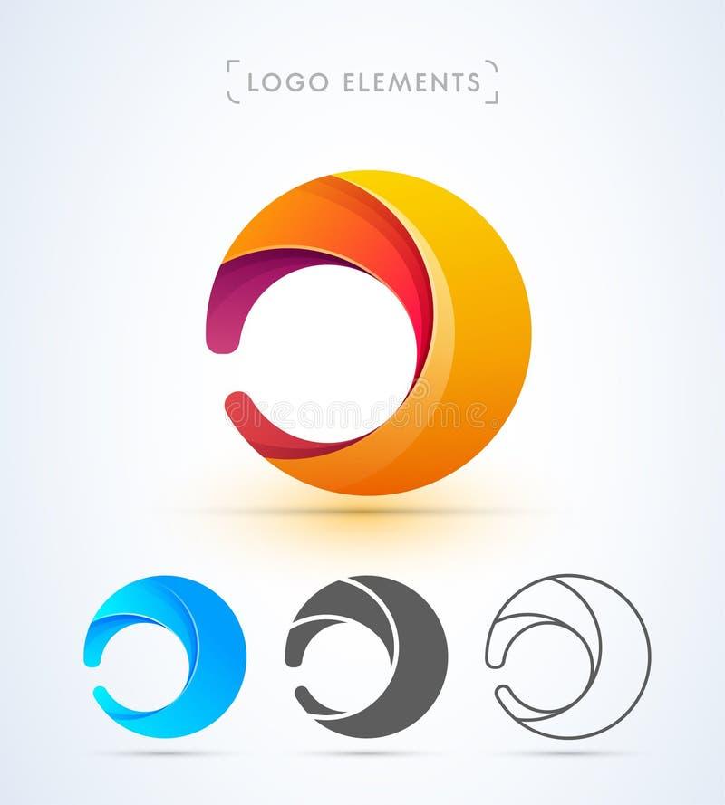 Abstrakt bokstav D eller nolla-logomall vektor illustrationer