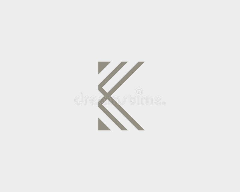Abstrakt bokstav K Logo Design Linjärt elegant vektorsymbolssymbol Högvärdig logotyp för monogram för affärsfinansmassmedia royaltyfri illustrationer