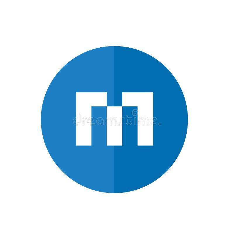Abstrakt bokstav M Icon, blå färg, teknologidesignbegrepp stock illustrationer