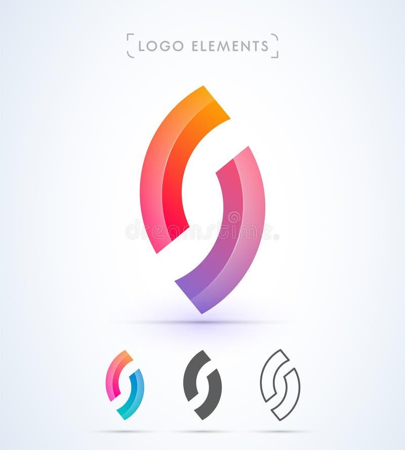 Abstrakt bokstav S, nolla-logo för vektor Negativ utrymmestil vektor illustrationer