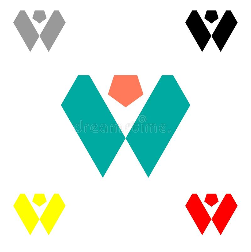 Abstrakt bokstavsw-logo stock illustrationer