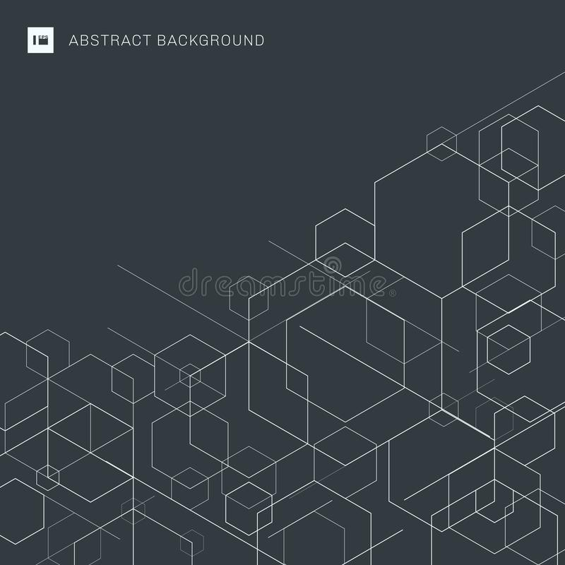 Abstrakt boksuje białe linie na szarym tle Nowo?ytnych technologia cyfrowych wzor?w geometryczna forma Sześciokąt geometrii struk ilustracja wektor
