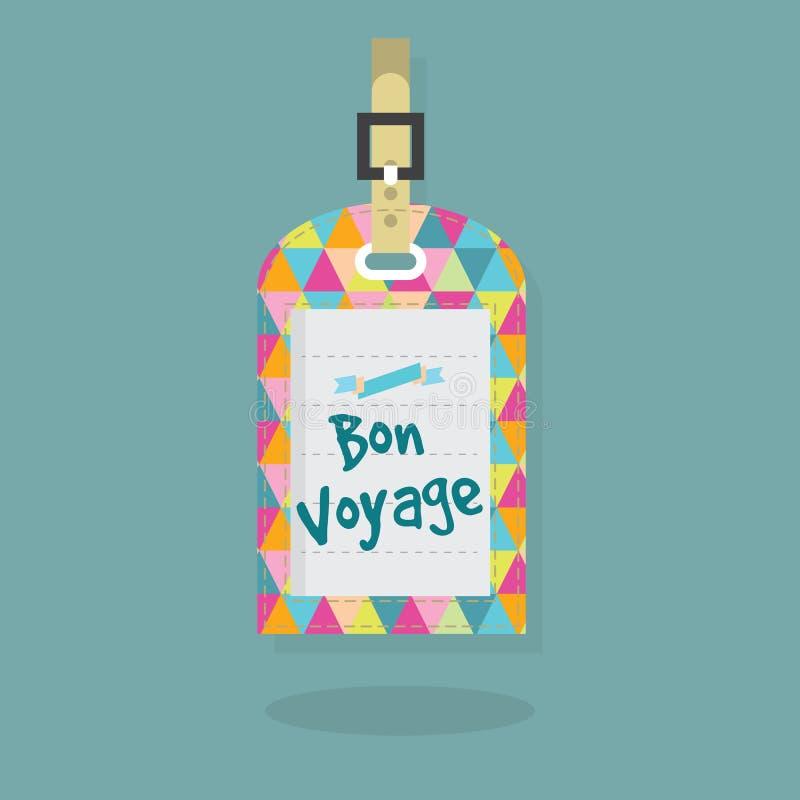 Abstrakt Bon Voyage meddelande på bagage- och loppetikett stock illustrationer