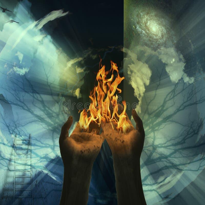 abstrakt brandgåta stock illustrationer