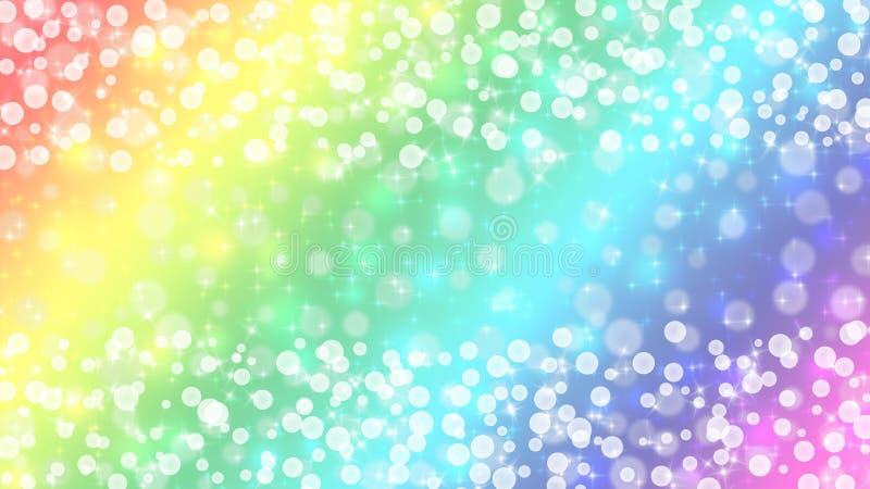 Abstrakt Bright Bokeh och Sparkles i bakgrunden för inklistelfärger i regnbåge royaltyfria bilder