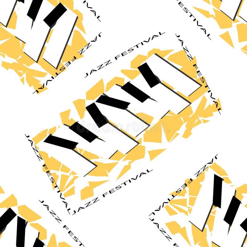 Abstrakt broschyrmall med jazzmusikfestival Vit maskering och saxofon Reklamblad f?r jazzkonsertvektor seamless modell royaltyfri illustrationer