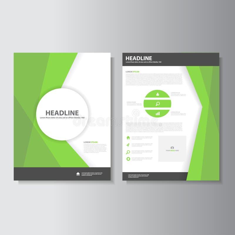 Abstrakt broszurki ulotki ulotki Zielonego szablonu płaski projekt ustawia dla marketingu ilustracja wektor
