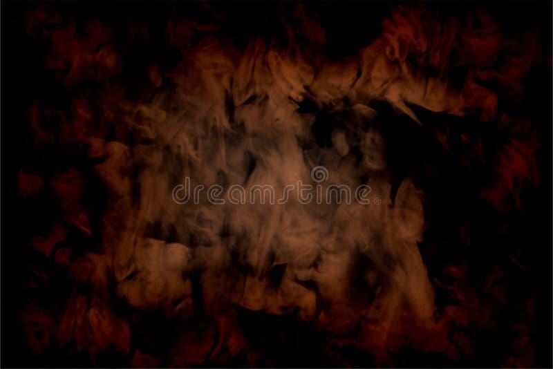 Abstrakt brun rök på svart bakgrund vektor illustrationer