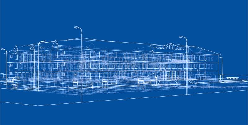 Abstrakt byggnad illustration 3d vektor illustrationer