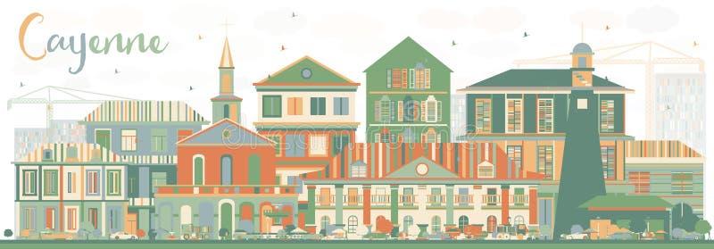 Abstrakt Cayenne horisont med färgbyggnader royaltyfri illustrationer
