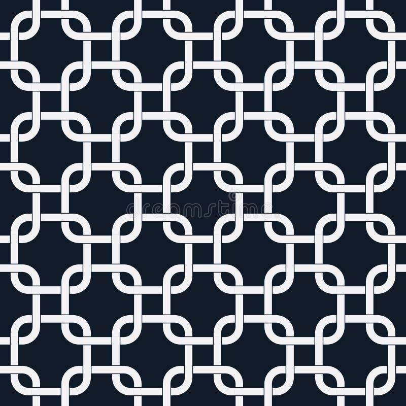 Abstrakt chain sömlös modell, öglas- eller cirkelrektangel som gripa in i varandra modellbakgrund, Retro modell, vektor vektor illustrationer