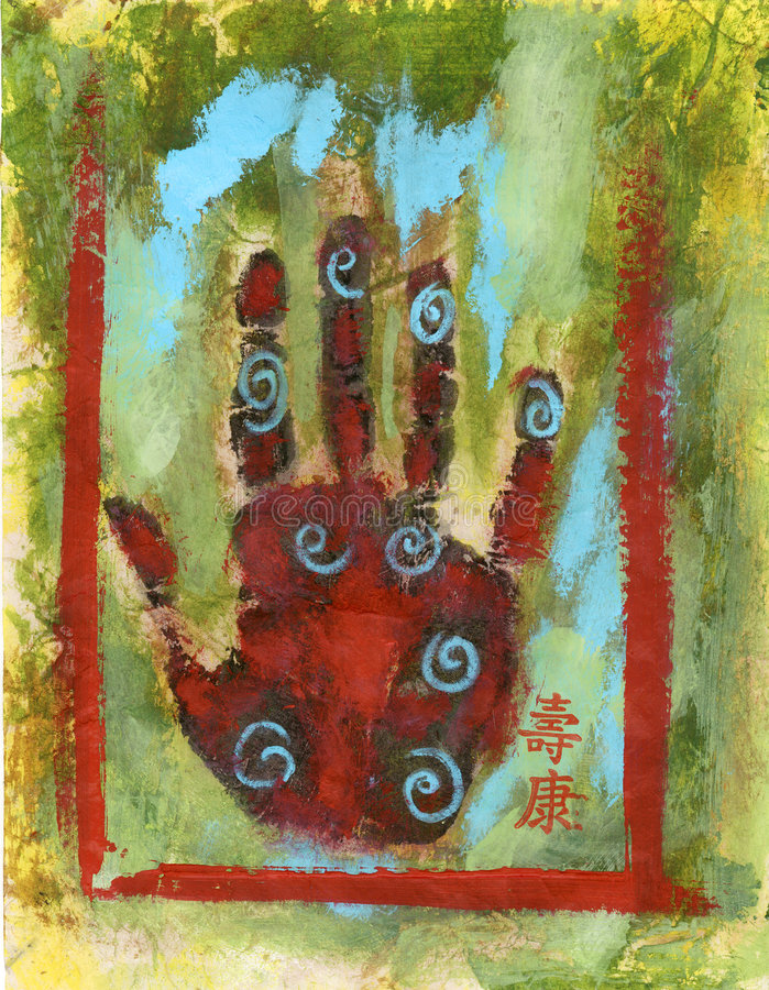 abstrakt chakrahand stock illustrationer
