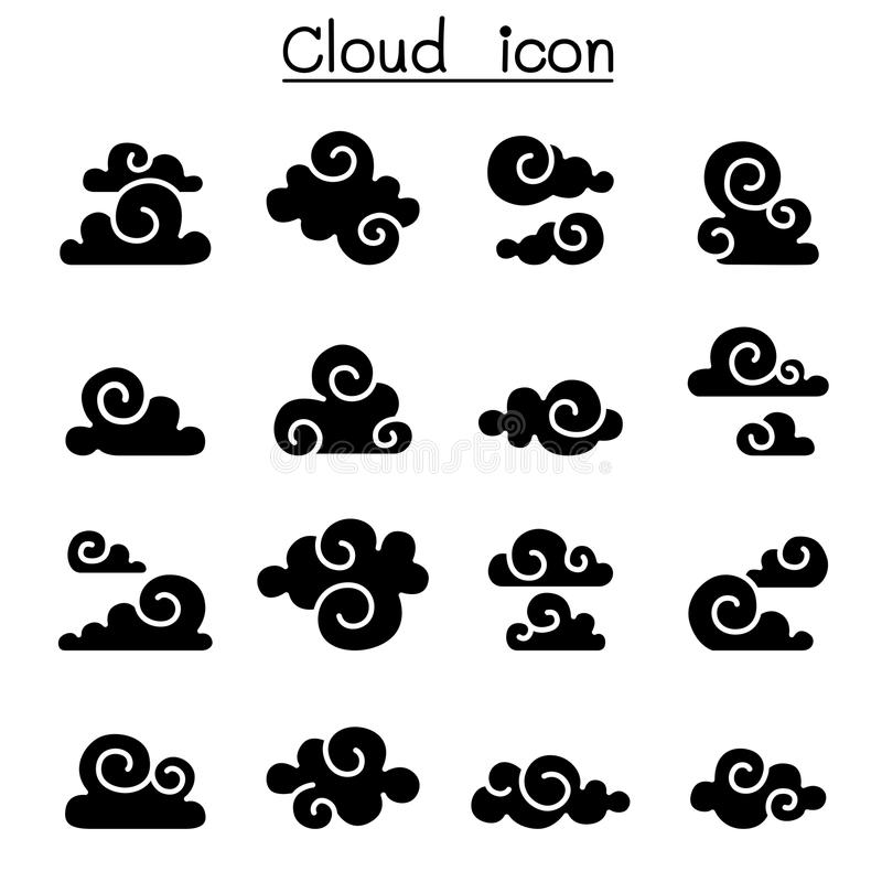 Abstrakt chmura, chińczyk chmura, kędzior chmura, dekoraci chmura, c royalty ilustracja