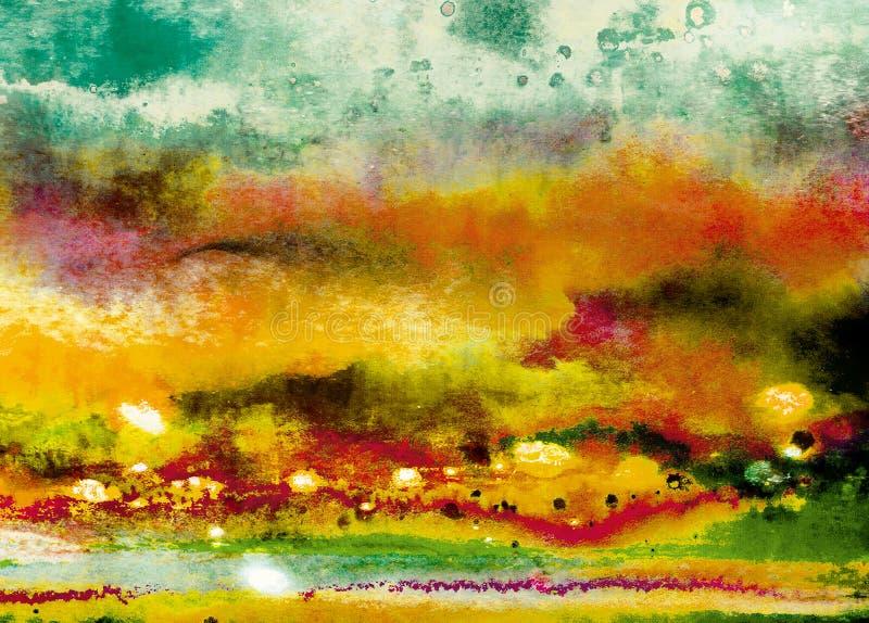 Abstrakt chmurnieje z jesień nastrojem Cyfrowej sztuka z pomarańcze, zieleń, czerwień, żółci colours Wielki jako samodzielny tło obrazy royalty free