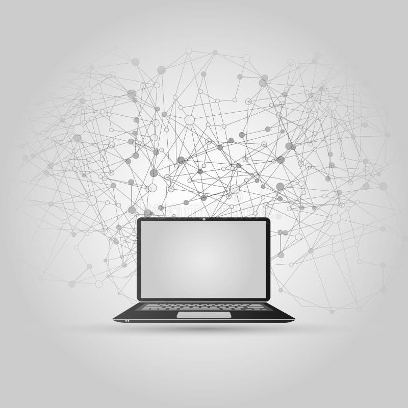 Abstrakt chmury Obliczać i Globalnej sieci związków pojęcia projekt z laptopem, Bezprzewodowy urządzenie przenośne ilustracji