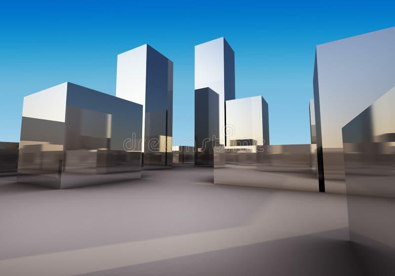 Abstrakt chromium pudełka budynek ilustracji