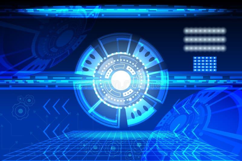 Abstrakt cirkelbegreppsinnovation förbinder den digitala linjen teknik i comm för datornätet för data för digital teknologi för v royaltyfri illustrationer