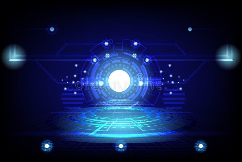 Abstrakt cirkelbegreppsinnovation förbinder den digitala linjen teknik i netw för dator för data för digital teknologi för värld  royaltyfri illustrationer