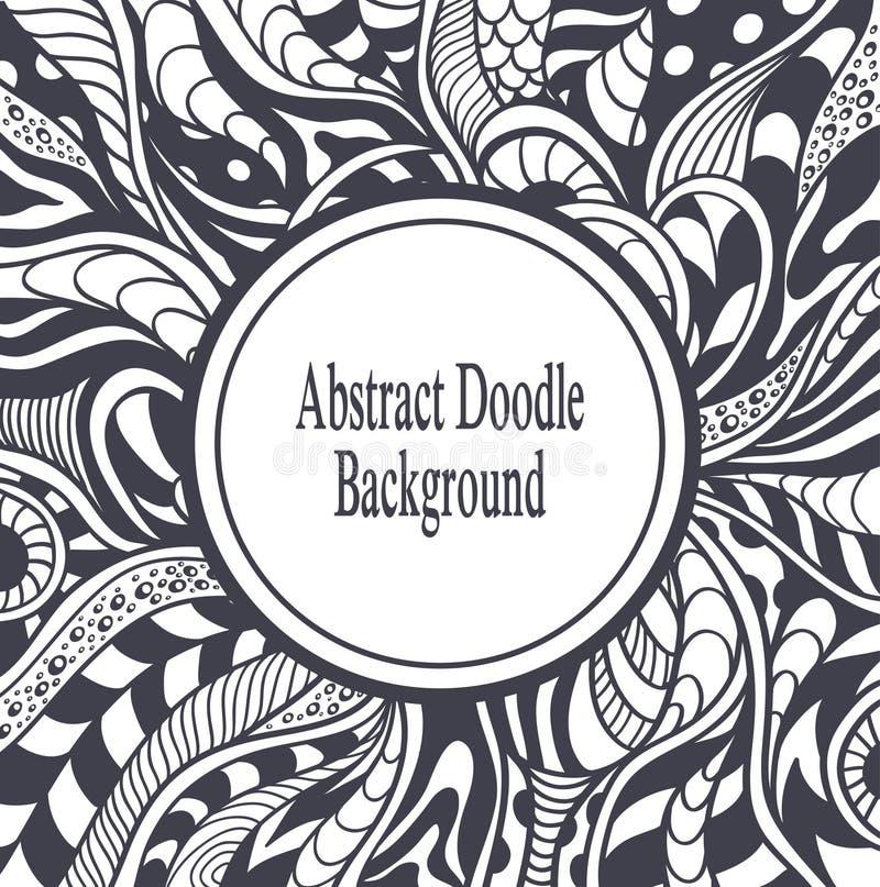 Abstrakt cirkelram med bakgrund i svart för Zen-tova Zen-klotter stil på vit vektor illustrationer