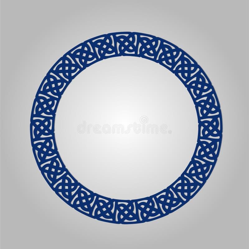 Abstrakt cirkelram med virvlar, vektorprydnad, tappningram May att användas för lasercutting stock illustrationer