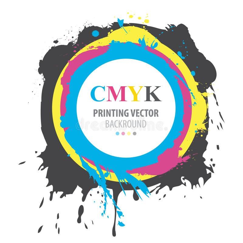 Abstrakt CMYK-målarfärgfärgstänk stock illustrationer
