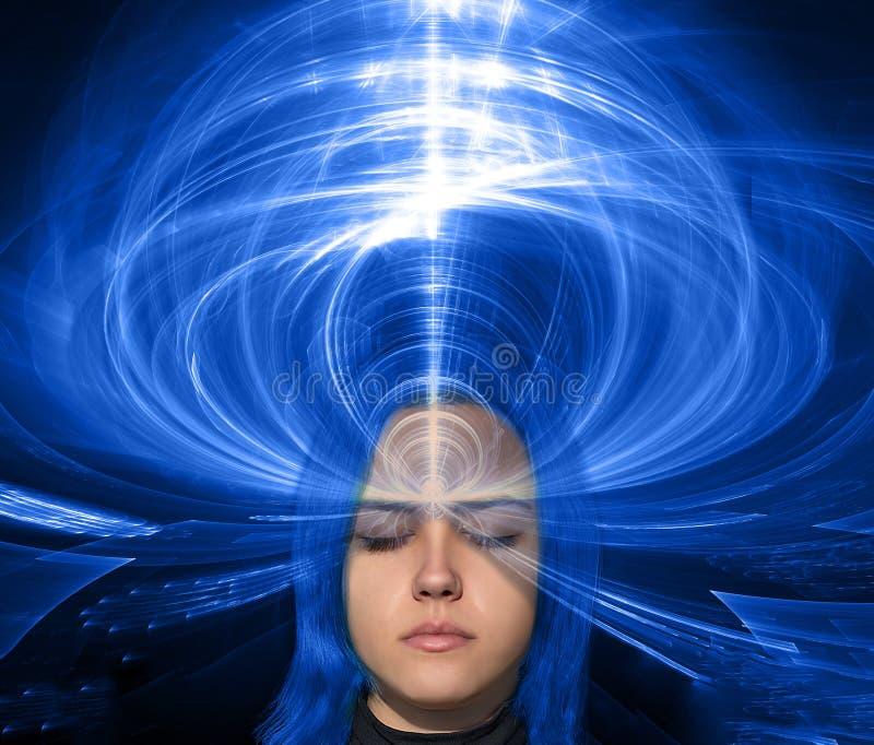 Abstrakt collage med flickaframsidan och fractalbakgrund - esoteri fotografering för bildbyråer