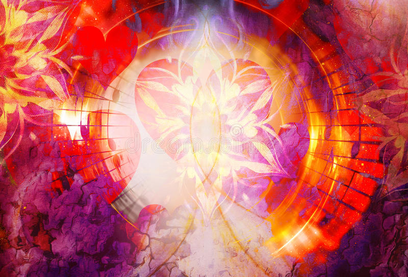 Abstrakt collage med hjärta som ut fördelar musikanmärkningar som symboliserar förälskelsen till musik, gör sammandrag dekorativ  vektor illustrationer