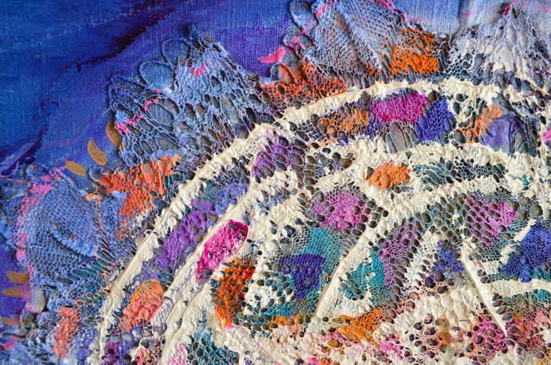Abstrakt colorfullakrylmålning kanfas Kan användas som en vykort Enheter för borsteslaglängdtextur royaltyfria foton