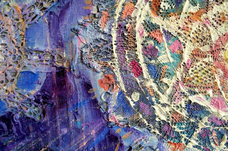 Abstrakt colorfullakrylmålning kanfas Kan användas som en vykort Enheter för borsteslaglängdtextur fotografering för bildbyråer