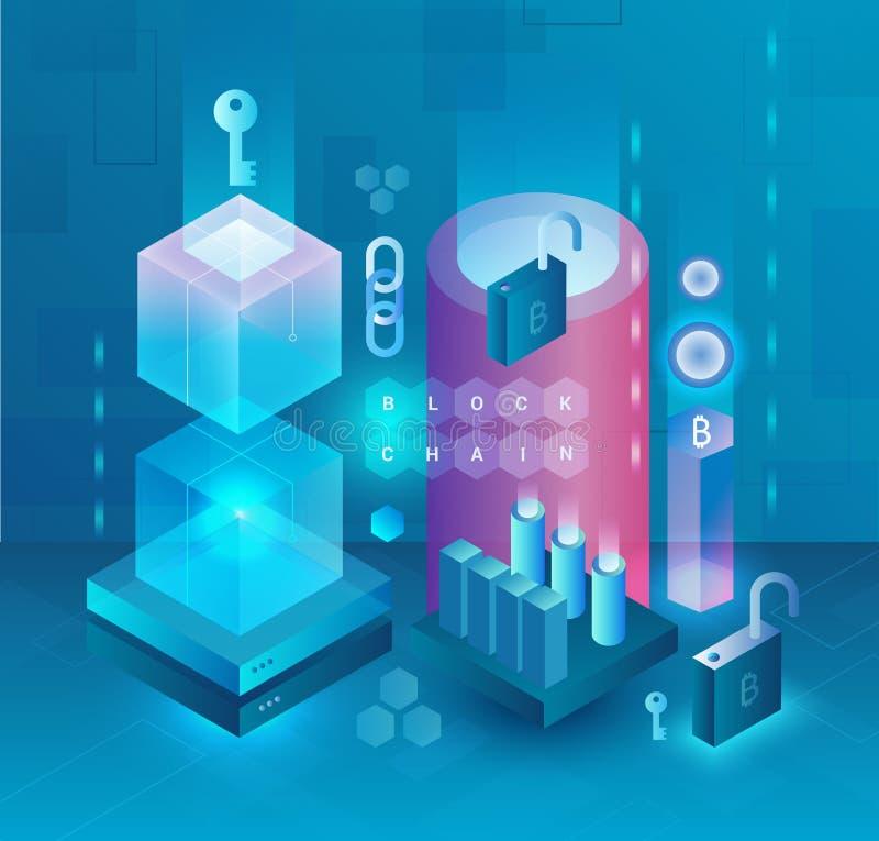 Abstrakt cryptocurrency och Blockchain vektorbegrepp Bryta lantgården Bitcoin, ethereum och monero Crypto Digital pengar vektor illustrationer