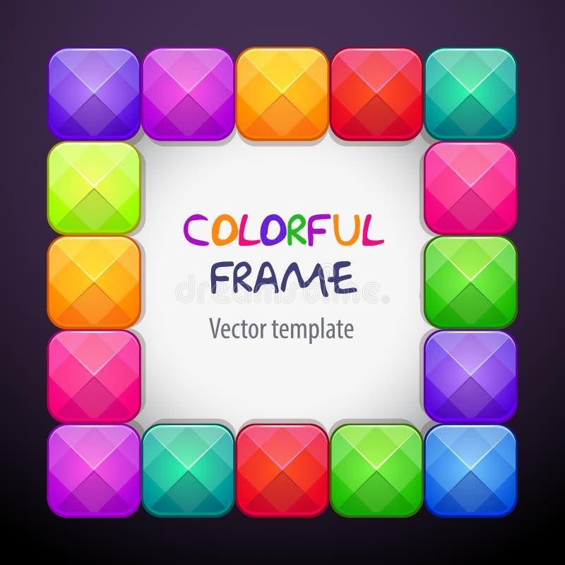 Abstrakt cteative fyrkantig ram som består av färgrika ljusa kristallkvarter royaltyfri illustrationer