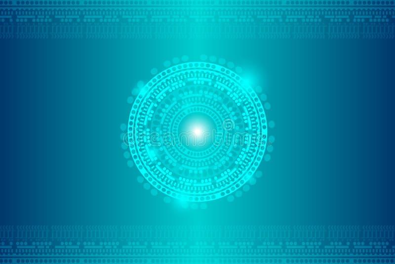 Abstrakt cyberbakgrund med ett glöd och dekorering från ovannämnt och underifrån Minimalistic vektor stock illustrationer