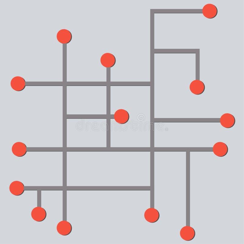 abstrakt cybermodell i diagram för mikrochipsprydnadvektor royaltyfri illustrationer