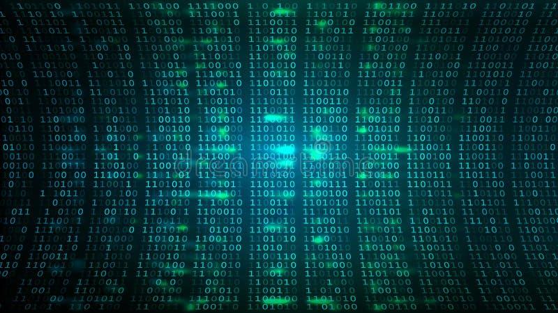 Abstrakt cyberspace BG Skärm Digital för binär kod stock illustrationer