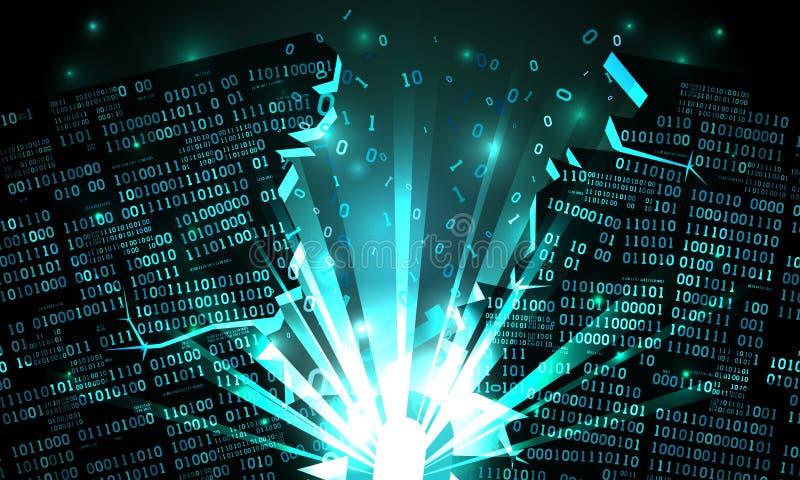 Abstrakt cyberspace med en hackad samling av binära data, explosion med strålar av ljus, uppblåst binär kod, matrisbakgrund vektor illustrationer