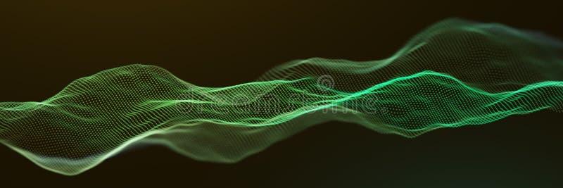 Abstrakt cząsteczki Zielonych fal Nawierzchniowy tło ilustracja wektor