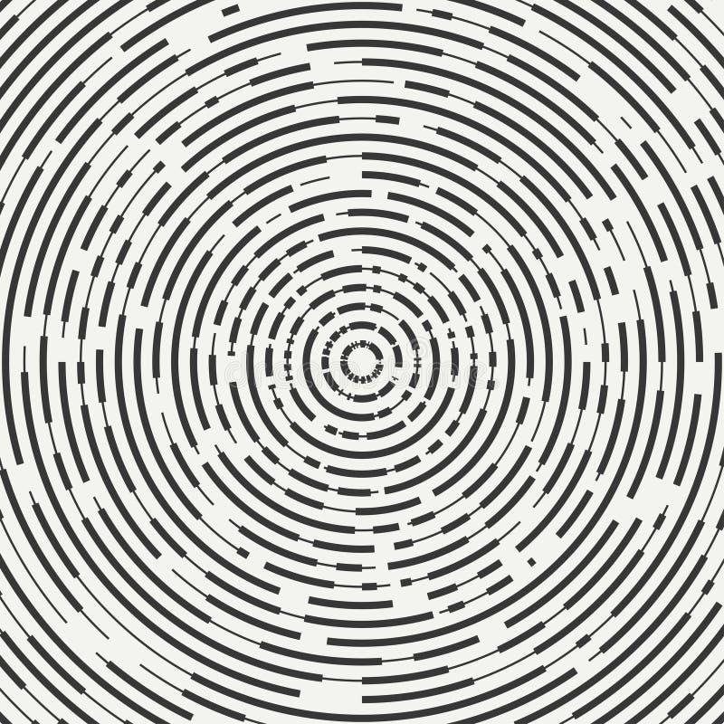 Abstrakt członujący geometryczny okręgu kształt Promieniowi koncentryczni okręgi pierścienie Swirly koncentryczni członujący okrę royalty ilustracja
