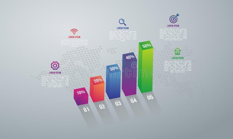 Abstrakt 3D cyfrowy ilustracyjny Infographic z 5 map opcją ilustracja wektor